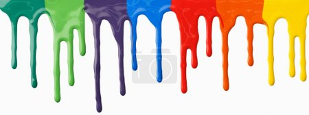 Clorful paints dripping on white background. Abstr...