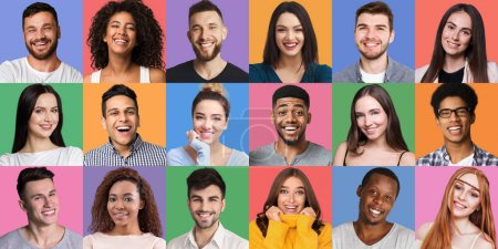 Photo for Portraits collage. Young diverse people grimacing and gesturing at colorful backgrounds. Young and happy concept - Royalty Free Image