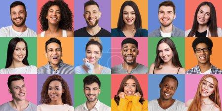 Photo pour Collage de portraits. Jeunes gens divers grimaçant et gesticulant sur des milieux colorés. Concept jeune et heureux - image libre de droit