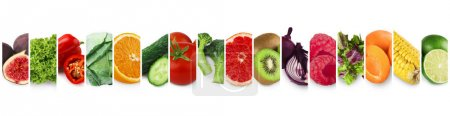 Photo for Healthy eating concept. Collection of fresh ripe fruits, vegetables and berries, panorama - Royalty Free Image