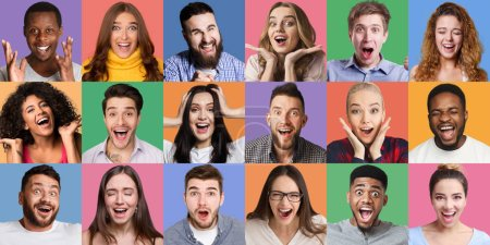 Photo for Collage of millennials emotional portraits. Young diverse people grimacing and gesturing at colorful backgrounds - Royalty Free Image
