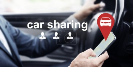 Photo for Man driving car and using mobile app of rental service, virtual car sharing and people icons, panorama - Royalty Free Image