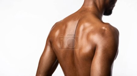Photo for Unrecognizable Black Bodybuilder Guy Posing Back To Camera Standing In Studio On White Background. Workout And Muscles Building. Panorama - Royalty Free Image