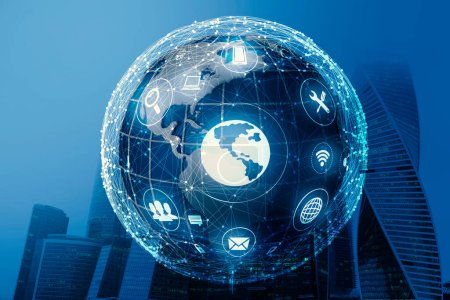 Photo for Innovative Internet Technologies Concept. Holographic Globe With Wifi And Online Search Icons Over Blue Urban Cityscape Background. Double Exposure - Royalty Free Image