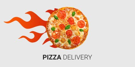Photo for Hot burning pizza for express delivery against light background, creative collage. Panorama - Royalty Free Image