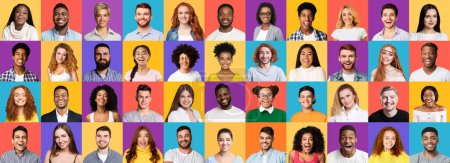 Photo for Happy People Faces Collage. Collection Of Different Joyful Millennials Portraits On Bright Colored Studio Backgrounds. Panorama - Royalty Free Image