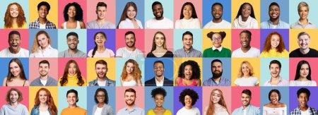Photo pour Bonne génération. Collage de gens souriants visages sur des milieux Studio colorés lumineux. Panorama - image libre de droit