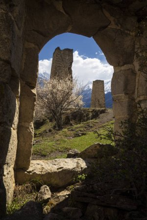 Falhan tower complex in Ingushetia on a spring day...