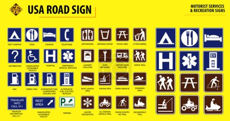 Illustration for Set of USA road sign.(MOTORIST SERVICES & RECREATION SIGNS). easy to modify - Royalty Free Image