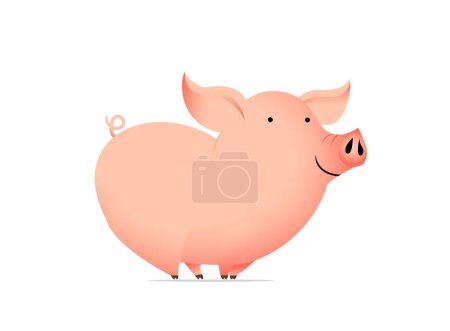 Illustration for Animal cartoon character - funny pig. Vector illustration. - Royalty Free Image
