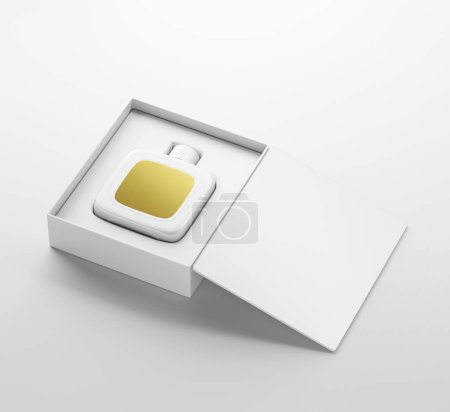 Photo pour Modèle de bouteille de parfum blanc avec étiquette en or dans une boîte d'emballage ouverte. Sur fond blanc. rendu 3D - image libre de droit