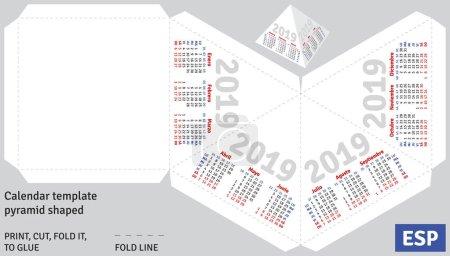 Template spanish calendar 2019 pyramid shaped, vector, isolated object