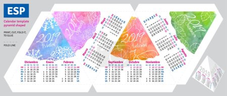Template spanish calendar 2019 by seasons pyramid shaped, vector watercolor background