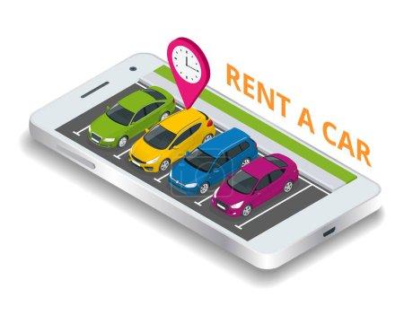 Illustration pour Location d'une voiture neuve ou d'occasion. réservation de réservation de voiture de location sur smartphone mobile. Voitures d'occasion app. Illustration vectorielle arrière plan - image libre de droit