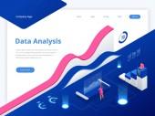 Data Management System and Business Analytics Concept isometric vector illustration Hosting Server or Data Center Room web banner