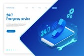 Web page design templates for call center support 24-7 Isometric 24 hours open customer service Vector illustration Customer Service Support or CRM