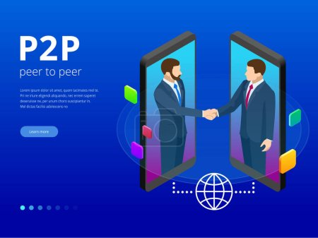 Isometric Peer to peer and Fintech concept. Two Bu...