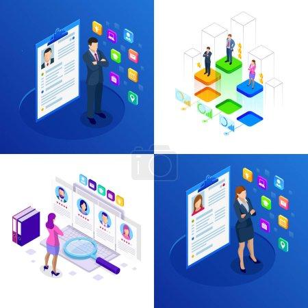 Illustration pour Ensemble isométrique de recherche d'emploi et de ressources humaines en ligne, concept de recrutement. Nous embauchons. Présentation pour l'emploi et infographies pour le recrutement - image libre de droit