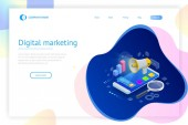Isometric concept of analytics strategy investment management Investment and virtual finance Communication and digital marketing