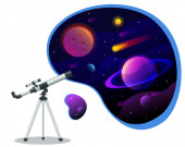 Isometric astronomical observatory dome Astronomical telescope tube and cosmos Astronomer looking through telescope on planets stars and comets Astronomical telescope tube and cosmos