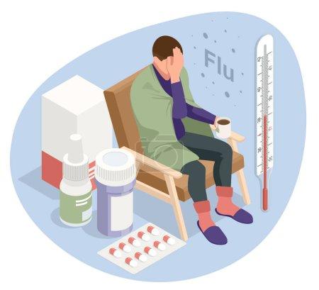 Illustration pour Un malade contrarié avec une tasse de thé, assis sur une chaise couverte d'une couverture, gèle et a de la fièvre. Fille malade avec des symptômes de grippe. Médecine Maladie Maladie - image libre de droit
