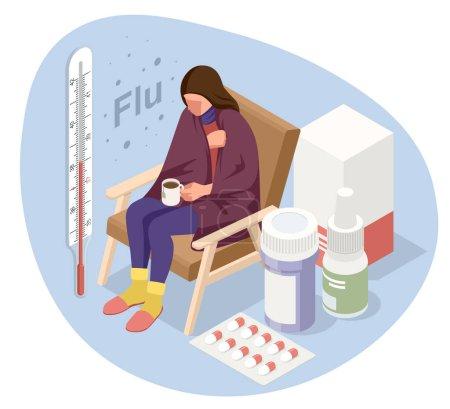 Illustration pour Une femme malade bouleversée avec une tasse de thé, assise sur une chaise couverte d'une couverture, gèle et a de la fièvre. Fille malade avec des symptômes de grippe. Médecine Maladie Maladie - image libre de droit