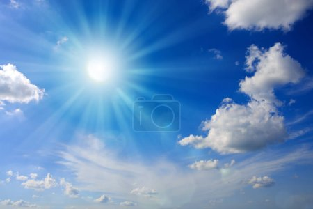 Photo for Blue sky with sunbeams and clouds. Sun rays. - Royalty Free Image