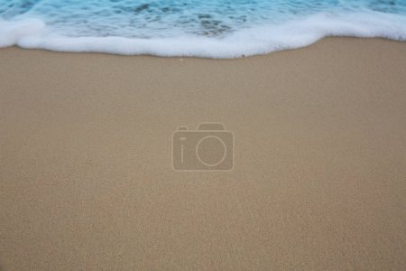 Photo for Soft wave of blue ocean on sandy beach. Travel background. - Royalty Free Image