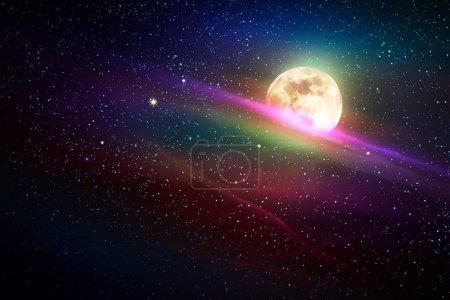 Foto de Estrellas en el fondo de cielo, color azul noche. Estrellas de la galaxia. Fondo espacio abstracto. Luna llena y cielo estrellado. - Imagen libre de derechos