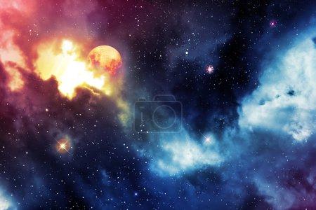 Foto de Vía Láctea fondo abstracto con estrellas y luna . - Imagen libre de derechos