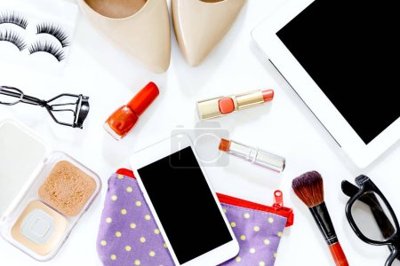 Photo for Female accessories and shoes with cosmetic set on white background - Royalty Free Image