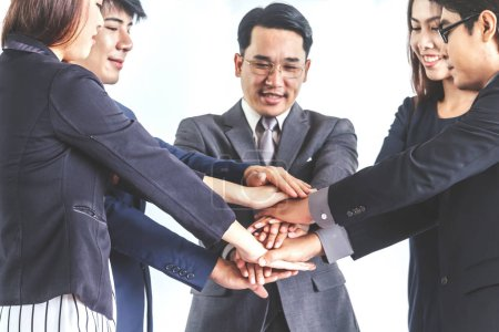 Photo for Business teamwork stack hands - Team work concept - Royalty Free Image