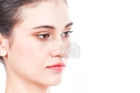 Photo for Beautiful face of woman on white background - Royalty Free Image