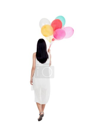 Photo for Young woman with colorful balloons isolated on white background - Royalty Free Image