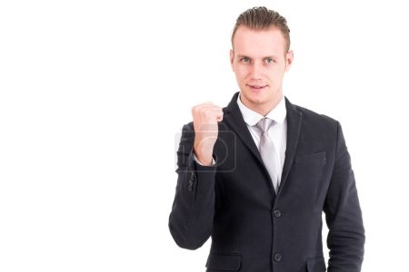 Photo for Successful businessman celebrating with arms up - Royalty Free Image