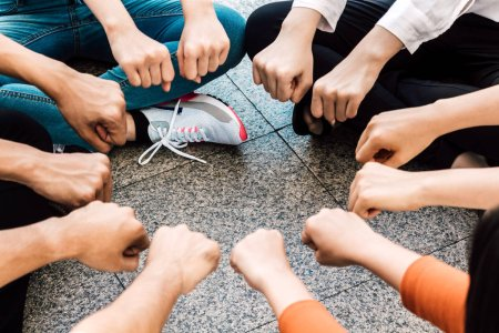 Photo for Group of team work people giving fist bump together.friendship concept - Royalty Free Image