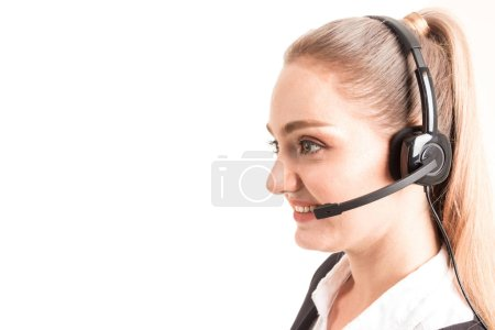 Foto de Servicios de apoyo de cliente hermosa empresaria trabajar con auriculares aislados en fondo blanco - Imagen libre de derechos