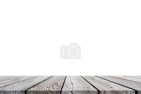 Photo for Wood table top for display or montage your products isolated on white background - Royalty Free Image