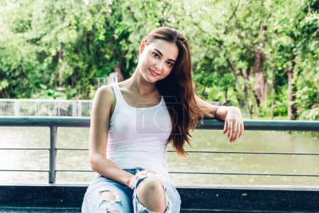 Photo for Portrait of beautiful smiling woman and looking at camera - Royalty Free Image