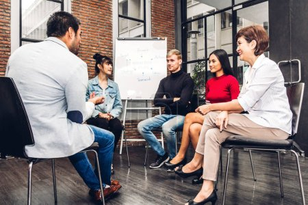 Photo for Group of casual business discussing and working.creative business people planning and brainstorm in modern workloft.Teamwork concept - Royalty Free Image