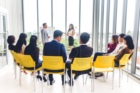 Photo for Group of casual business meeting and discussing with laptop computer.creative business people presenting and planning in modern workloft.Teamwork concept - Royalty Free Image