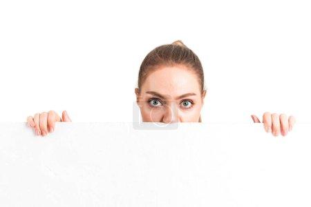 Photo pour Belle femme d'affaires derrière blanc anglo-saxon blanc isolé sur fond blanc - image libre de droit