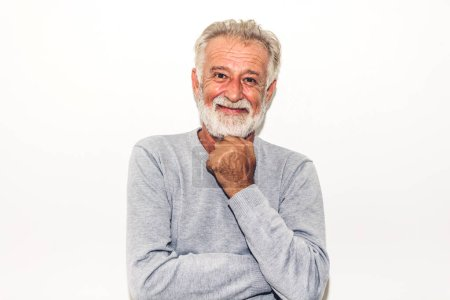 Photo for Portrait of happy smiling senior man looking at camera while standing on white background - Royalty Free Image