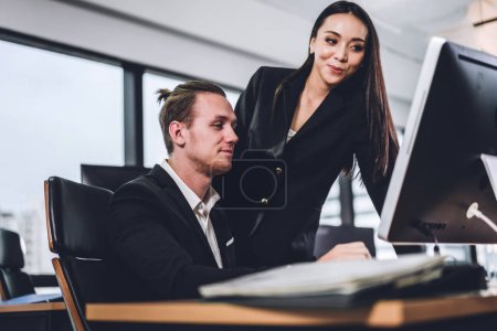 Photo for Successful of two casual business discussing and working with laptop computer.creative business people planning and brainstorm in modern office.Teamwork concept - Royalty Free Image
