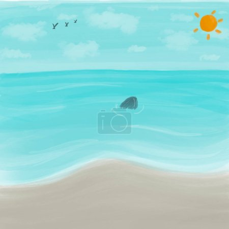 Photo for Illustration drawing of tropical beach blue sea with sun on blue sky created by digital drawing.summer vacation background - Royalty Free Image