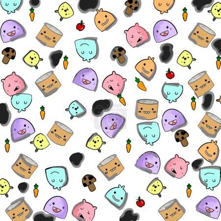 Photo pour Illustration dessin à la main de mignonnes griffes dessin animé design collection style motif sans couture sur fond blanc créé par le dessin numérique - image libre de droit