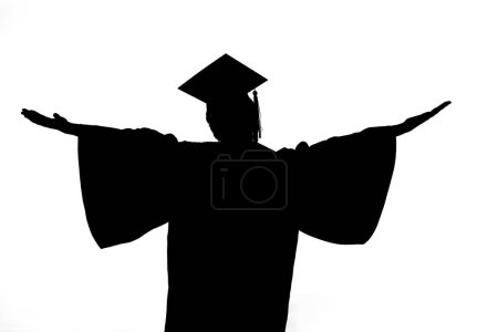 Photo for Silhouette of graduate happy woman isolated on white background - Royalty Free Image