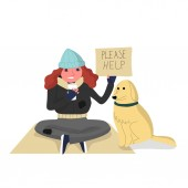 Homeless woman sitting on cardboard with a dog holding paper cu