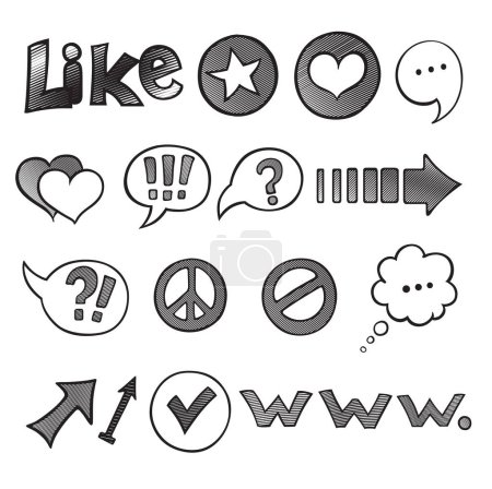 Illustration for Web and Computer Icon Set. Hand drawn black Sketchy Doodles icons for the Internet. Back to School Style. Vector Illustration Design Elements - Royalty Free Image