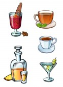 Restaurant cafe bar different type of a beverages colorful bright illustrations set May be for menu stickers posters or other kind of design Alcoholic and non-alcoholic hot and cold drinks in glass